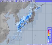 気象レーダー画像 2013年9月3日18時