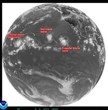 2014年8月6日3時 GOES-15赤外線画像