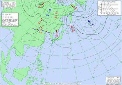 アジア太平洋域予想天気図 2016年7月25日21時JST